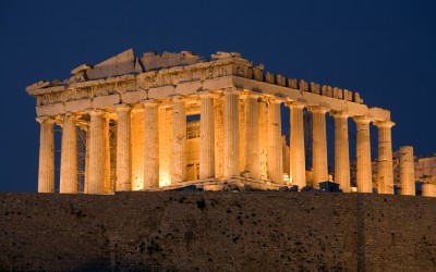 447-438 B.C., Athens, Greece --- The Parthenon at Dusk --- Image by © Colin Dixon/Arcaid/Corbis